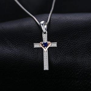 Colier din argint Sapphire Cross
