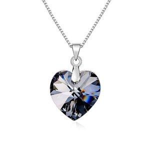 Colier din argint Silver Night Heart cu Cristal Swarovski