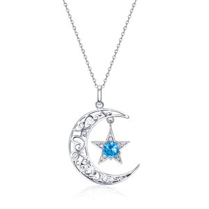 Colier din argint Sparkling Monn and Star