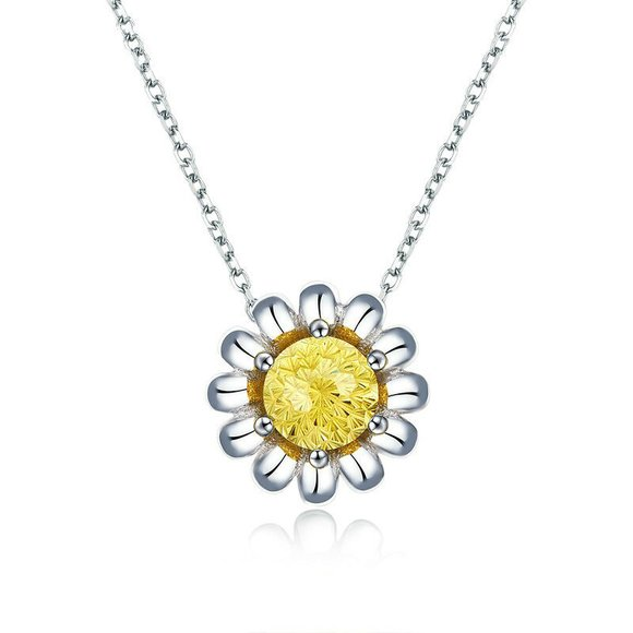 Colier din argint Yellow Daisy Flower