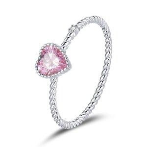 Inel din argint Beautiful Pink Heart