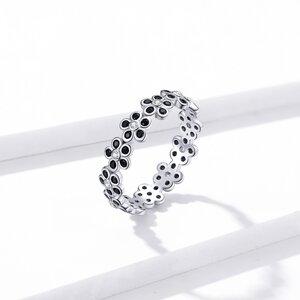 Inel din argint Black Flowers