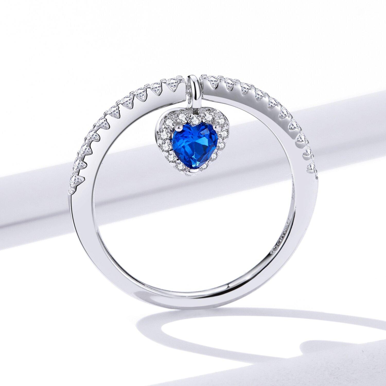 inel din argint blue heart ring 74338 4