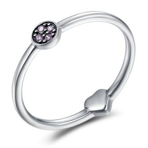Inel din argint Crystal and Heart Ring