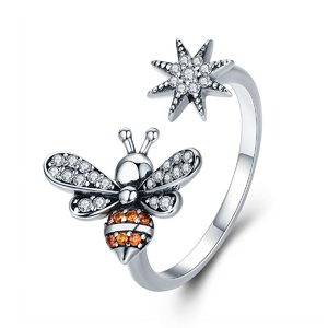 Inel din argint reglabil Crystal Bee