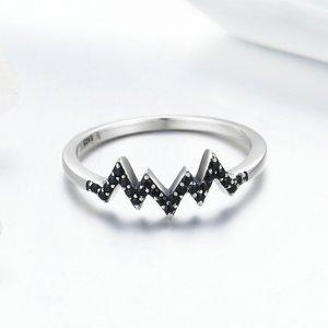 Inel din argint Crystal Black Wave