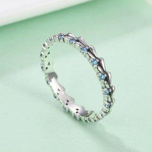 Inel din argint Crystal Blue Wave