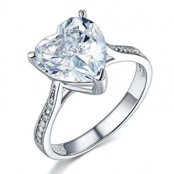 Inel din argint Crystal Heart Clear