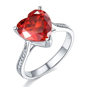 Inel din argint Crystal Heart Red