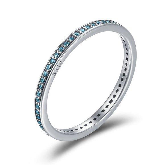 Inel din argint Crystal Stackable Ring blue