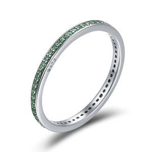 Inel din argint Crystal Stackable Ring green