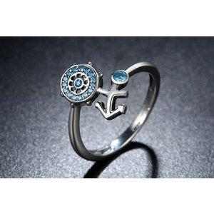 Inel din argint cu Ancora si Cristale albastre