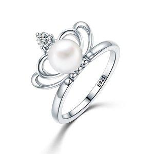 Inel din argint cu Coroana si Perla