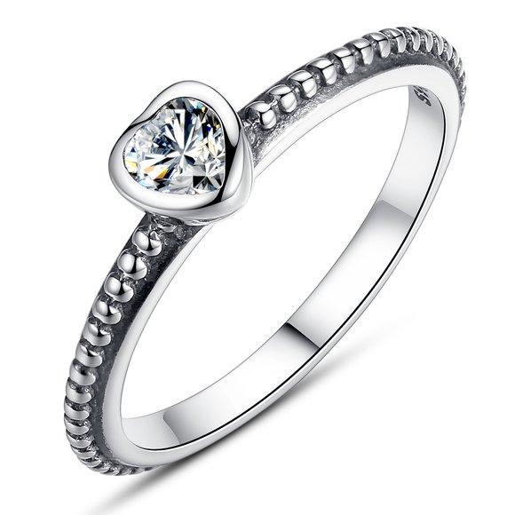 Inel din argint cu Inima Romantica si Cristal Clar