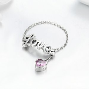 Inel din argint cu lantisor Pink Love