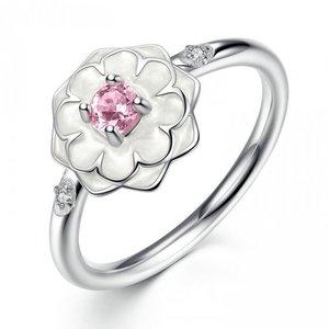 Inel din argint cu Lotus Alb si Cristale