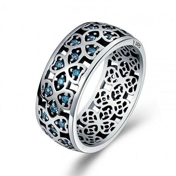 Inel din argint cu Mozaic si Cristale Albastre