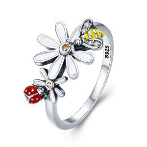 Inel din argint Daisy Bee and Ladybug