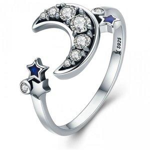 Inel din argint Dazzling Moon and Stars