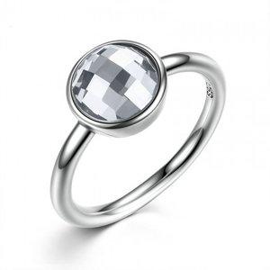 Inel din argint delicat cu Cristal Fatetat Transparent