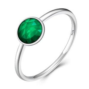 Inel din argint delicat cu Cristal Verde