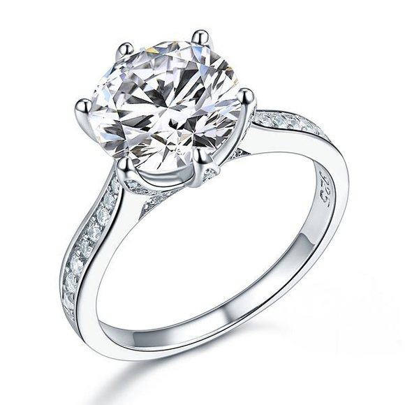 Inel din argint Diamond Classic Shape Cut clear