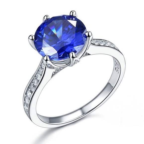 Inel din argint Diamond Classic Shape Cut purple