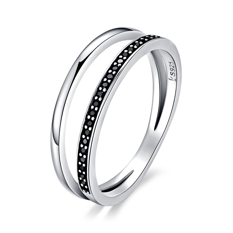 Inel din argint Double Circles black