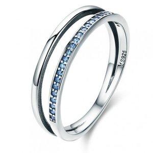 Inel din argint Double Circles blue