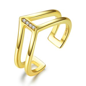 Inel din argint Double Layer Golden Ring