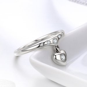 Inel din argint Dropping Heart clear