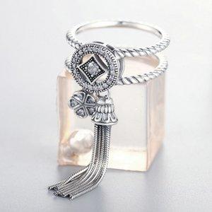 Inel din argint dublu cu Cristale si Franjuri