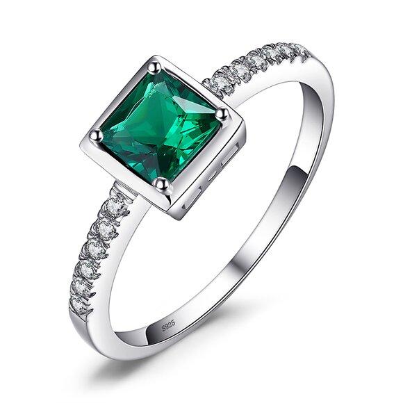 Inel din argint Elegant Square Emerald