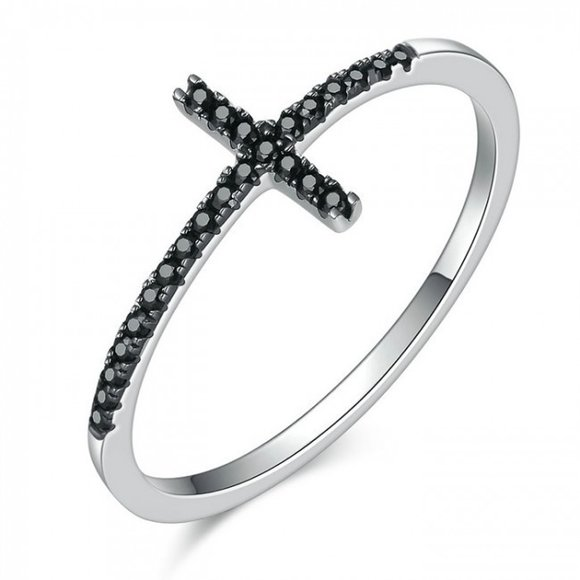 Inel din argint Faith Cross black