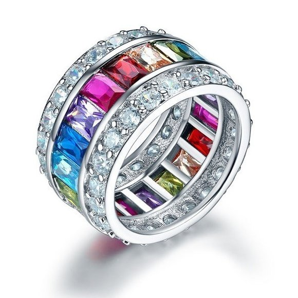 Inel din argint Fancy Band Multicolor