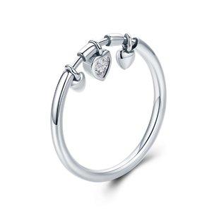 Inel din argint Glittering Hearts