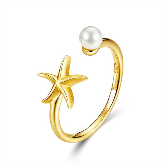 Inel din argint Golden Starfish