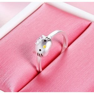 Inel reglabil din argint Hello Kitty