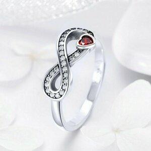 Inel din argint Infinite Red Heart