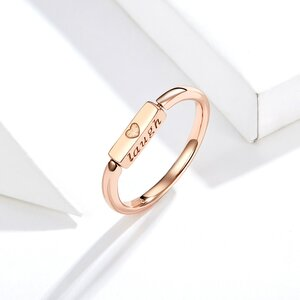 Inel din argint Life, Laugh, Love Rose Gold