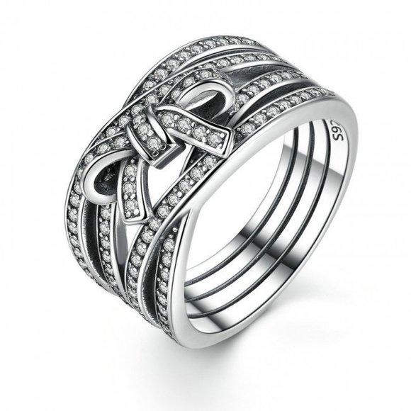 Inel din argint masiv cu Fundita Patinata
