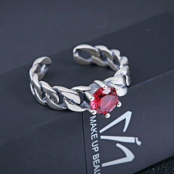 Inel reglabil din argint Massive Twisted Red