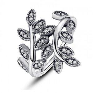 Inel din argint patinat cu Frunze si Cristale