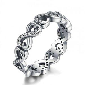 Inel din argint patinat cu Simbol Infinit