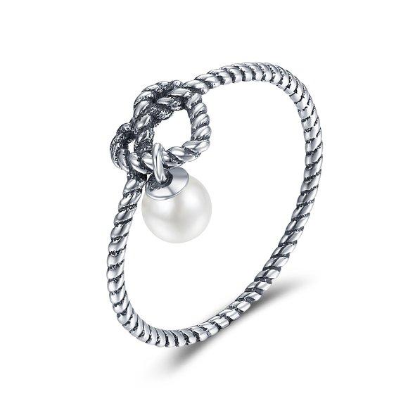 Inel din argint Pearl Knot