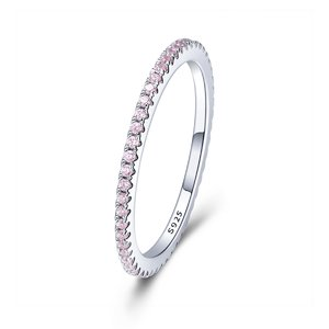 Inel din argint Pink Crystal Band