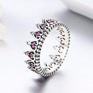 Inel din argint Pink Hearts Crown