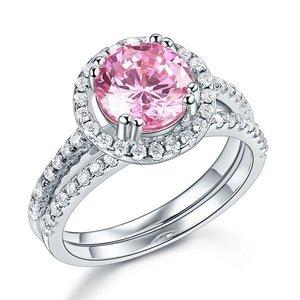 Inel din argint Pink Round Diamond