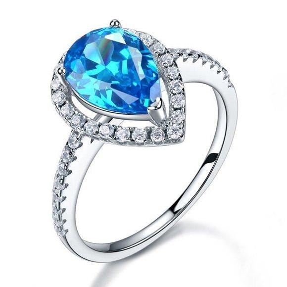 Inel din argint Queens Tear single blue