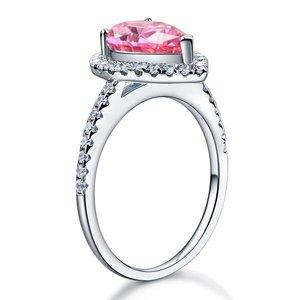 Inel din argint Queens Tear single pink